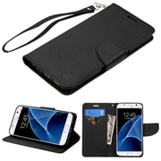 Insten FlIp Leather FabrIc Case Lanyard w/stand/card holder For Samsung Galaxy S7 - Black