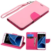Insten FlIp Leather FabrIc Cover Case Lanyard w/stand/card holder For Samsung Galaxy S7 - PInk
