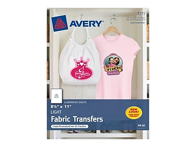 """Avery Fabric Transfer Paper, 8.5"""" x 11"""", White, 6/Pack (3271)"""