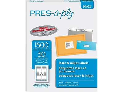 "Pres-a-ply Laser/Inkjet File Folder Labels, 2/3"" x 3 7/16"", White, 30/Sheet, 50 Sheets/Pack (30632)"