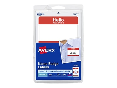 Avery Sticker Name Tags, White with Red Border, 2 Labels/Sheet, 50 Sheets/Pack (5140)