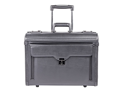Bond Street Laptop Rolling Briefcase, Black Faux