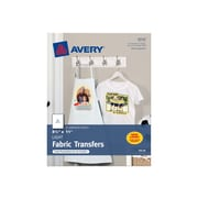 """Avery Fabric Transfer Paper, 8.5""""W x 11""""H, White, 18/Pack (8938)"""
