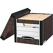 Bankers Box R-Kive® Heavy-Duty FastFold File Storage Boxes, Lift-Off Lid, Letter/Legal Size, Woodgrain, 4/Pack (0072506)