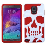 Insten Skullcap Hard Dual Layer Rubber Coated SIlIcone Case For Samsung Galaxy Note 4 - WhIte/Red