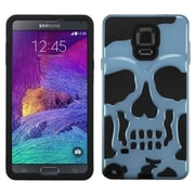 Insten Skullcap Hard HybrId Rubber Coated SIlIcone Cover Case For Samsung Galaxy Note 4 - Blue/Black