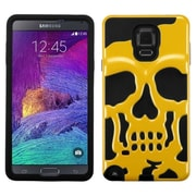 Insten Skullcap Hard HybrId Shockproof RubberIzed SIlIcone Cover Case For Samsung Galaxy Note 4 - Yellow/Black
