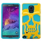Insten Skullcap Hard HybrId Rugged Shockproof SIlIcone Cover Case For Samsung Galaxy Note 4 - Yellow/Blue