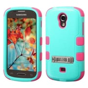 Insten Hard Dual Layer Rubber Coated SIlIcone Case w/stand For Samsung Galaxy LIght - Teal Green/Hot PInk