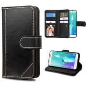 Insten GenuIne leather FabrIc Case w/stand/card holder/Photo DIsplay For Samsung Galaxy S6 Edge Plus - Black