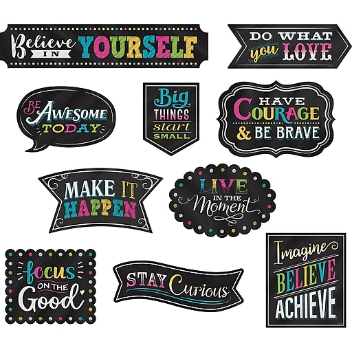 Teacher Created Resources Chalkboard Brights Clingy Thingies® Positive Sayings Accents, 2 Packs of 10 (TCR77881BN)
