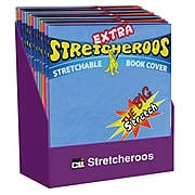Charles Leonard Extra Stretcheroos Bookcovers, Assorted Colors, Craft Supplies, 36/Pack (CHL34516ST)