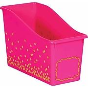 Teacher Created Resources Pink Confetti Plastic Book Bin, Pack of 3 (TCR20338BN)