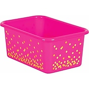 Teacher Created Resources Pink Confetti Small Plastic Storage Bin, Pack of 6 (TCR20891BN)