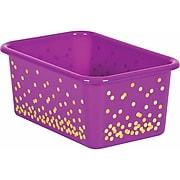 Teacher Created Resources Purple Confetti Small Plastic Storage Bin, Pack of 6 (TCR20892BN)