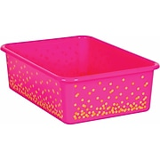 Teacher Created Resources Pink Confetti Large Plastic Storage Bin, Pack of 5 (TCR20898BN)