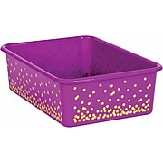 Teacher Created Resources Purple Confetti Large Plastic Storage Bin, Pack of 5 (TCR20899BN)