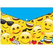 "Ashley Productions Smart Poly™ Folders, 9.5"" x 13"", Snap Button Enclosure, Emojis, Pack of 6 (ASH90601)"
