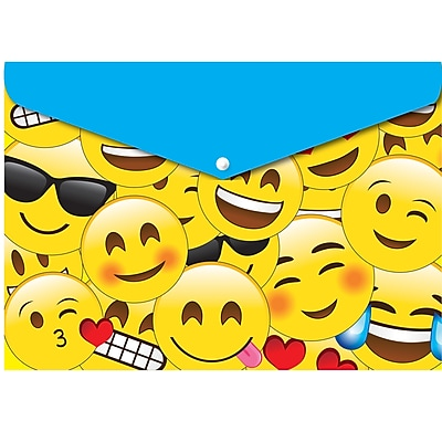 """Ashley Productions Smart Poly™ Folders, 9.5"""" x 13"""", Snap Button Enclosure, Emojis, Pack of 6 (ASH90601)"""
