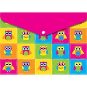 """Ashley Productions Smart Poly™ Folders, 9.5"""" x 13"""", Snap Button Enclosure, Colorful Owls, Pack of 6 (ASH90602)"""