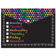 """Ashley Productions Smart Poly™ Folders, 9.5"""" x 13"""", Snap Button Enclosure, Colorful Chalk Days of the Week, Pack of 6 (ASH90606)"""