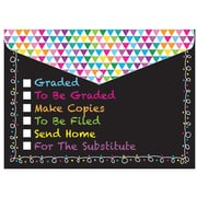 """Ashley Productions Smart Poly™ Folders, 9.5"""" x 13"""", Snap Button Enclosure, Colorful Chalk Tasks, Pack of 6 (ASH90607)"""