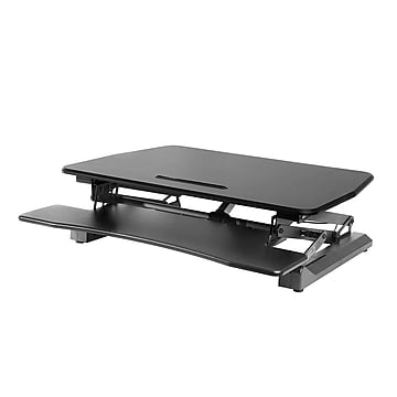 """Seville Classics AIRLIFT 35.4"""" Electric Height Adjustable Standing Desk Converter Workstation with USB Charger, Black (OFF65806)"""