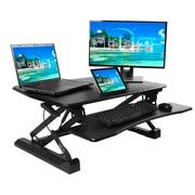 """Seville Classics AIRLIFT 35.4"""" Gas-Spring Height Adjustable Standing Desk Converter Workstation, Black (OFF65807)"""