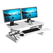 "Seville Classics AIRLIFT 35.4"" Gas-Spring Height Adjustable Standing Desk Converter Workstation, White (OFF65808)"