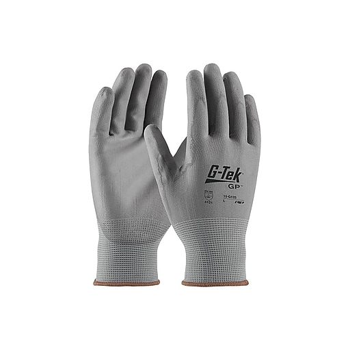 G-Tek GP Polyurethane Coated Gloves, Gray Dozen (33-G125/M)