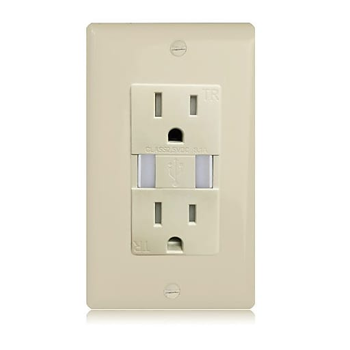 Maxxima Dual USB 3.1A Charger Ivory Wall Outlet with 15 Amp Duplex Receptacle (MEW-USB301V)