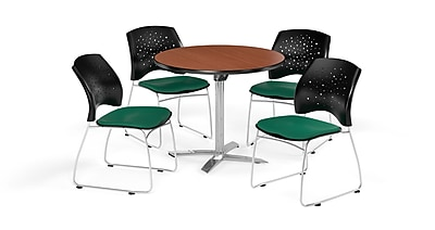 OFM 36 Inch Round Flip Top Cherry Table and Four Shamrock Green Chairs (PKG-BRK-165-0001)