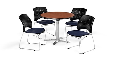 OFM 36 Inch Round Flip Top Cherry Table and Four Navy Chairs (PKG-BRK-165-0003)