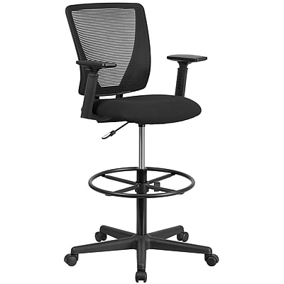Ergonomic Mid Back Mesh Drafting Chair With Black Fabric Seat, Adjustable  Foot Ring And Arms [GO 2100 A GG]