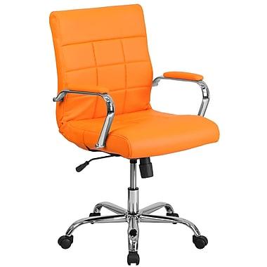 Mid-Back Orange Vinyl Executive Swivel Office Chair with Chrome Arms [GO-2240-ORG-GG]