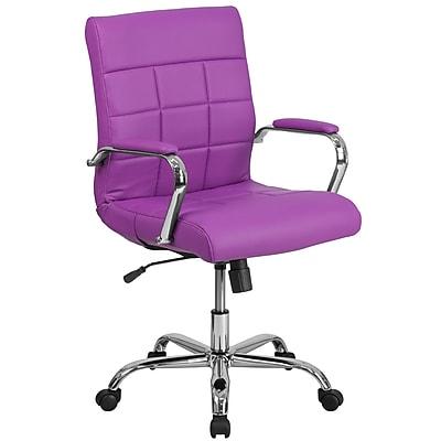 Mid-Back Purple Vinyl Executive Swivel Office Chair with Chrome Arms [GO-2240-PUR-GG]