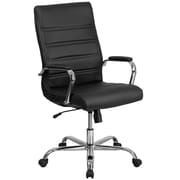 High Back Black Leather Executive Swivel Office Chair with Chrome Arms [GO-2286H-BK-GG]