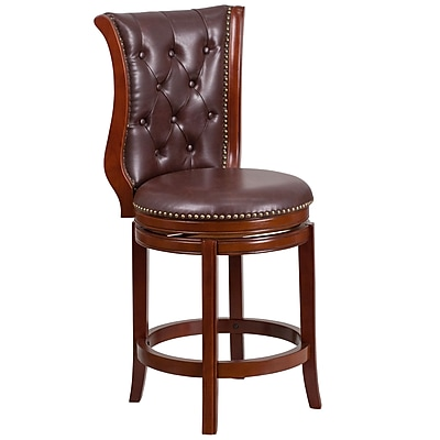 26'' High Dark Chestnut Wood Counter Height Stool with Hepatic Leather Swivel Seat [TA-2301226-DC-CTR-GG]