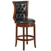 30'' High Brandy Wood Barstool with Black Leather Swivel Seat [TA-2301230-B-GG]