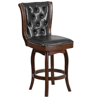 26'' High Cappuccino Wood Counter Height Stool with Black Leather Swivel Seat [TA-240126-CA-GG]