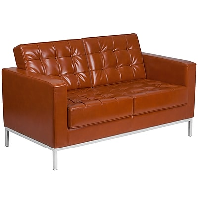 HERCULES Lacey Series Contemporary Cognac Leather Loveseat with Stainless Steel Frame [ZB-LACEY-831-2-LS-COG-GG]