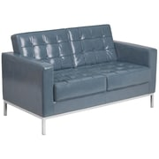 HERCULES Lacey Series Contemporary Gray Leather Loveseat with Stainless Steel Frame [ZB-LACEY-831-2-LS-GY-GG]