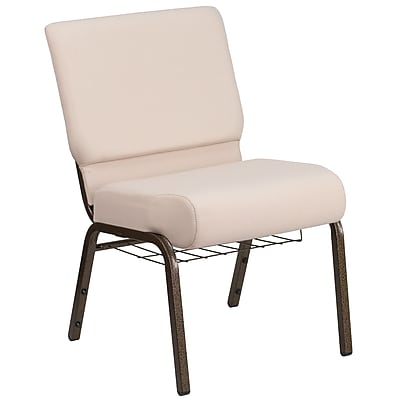 HERCULES Series 21''W Fabric Church Chair with 4'' Thick Seat, Communion Cup Book Rack - Vein Frame (FCH2214GVGVB2B)