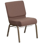 HERCULES Series 21''W Fabric Church Chair with 4'' Thick Seat, Communion Cup Book Rack - Vein Frame (FCH2214GVBNDTB)