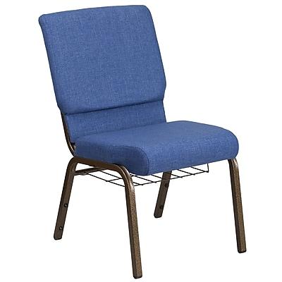 HERCULES Series 18.5''W Fabric Church Chair with 4.25'' Thick Seat, Communion Cup Book Rack - Vein Frame (FCH185GVBLUB)