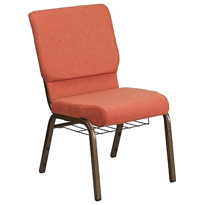 HERCULES Series 18.5''W Fabric Church Chair with 4.25'' Thick Seat, Communion Cup Book Rack - Vein Frame (FCH185GVCINB)