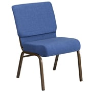 HERCULES Series 21'' Extra Wide Blue Fabric Stacking Church Chair with 4'' Thick Seat - Gold Vein Frame [FD-CH0221-4-GV-BLUE-GG]