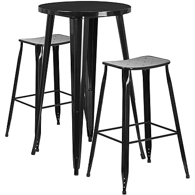 24'' Round Black Metal Indoor-Outdoor Bar Table Set with 2 Backless Saddle Seat Barstools [CH-51080BH-2-ET30ST-BK-GG]
