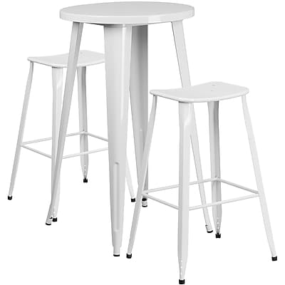 24'' Round White Metal Indoor-Outdoor Bar Table Set with 2 Backless Saddle Seat Barstools [CH-51080BH-2-ET30ST-WH-GG]