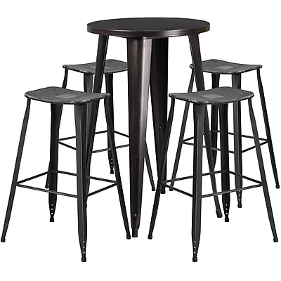 24'' Round Black-Antique Gold Metal Indoor-Outdoor Bar Table Set with 4 Distressed Backless Saddle Seat Barstools
